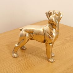 Brass Dog || Vintage Dog Sculpture Statue || Metal Alloy Figurine / Statuette || Large and heavy by UKAmobile on Etsy