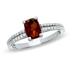 Cushion-Cut Garnet and White Topaz Ring in Sterling Silver - View All Rings - Zales