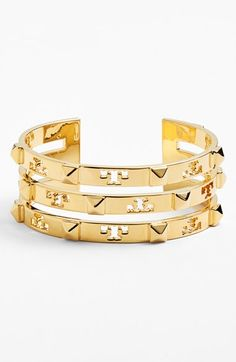 Obsessed with this Tory Burch logo cuff. It's perfect for an instant stacked wrist.