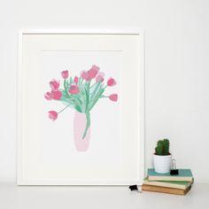 Modern Flowers Art Print 'Pink Tulips' by Sweet Oxen www.sweetoxen.co.uk