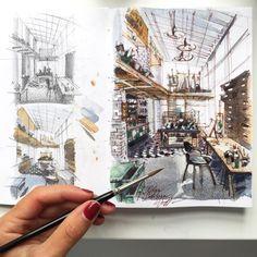 Интерьерный скетчинг акварелью | Online School of Sketching by Olga