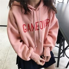 3c0b9eb8e itGirl Shop GAMEOVER PINK WARM FLEECE OVERSIZED HOODIE Aesthetic Apparel,  Tumblr Clothes, Soft Grunge