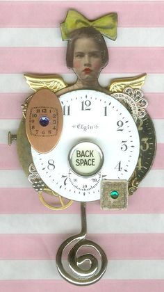 assemblage by Becky Christian, paperwhimsy pretty face