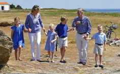 Queen Mathilde and King Philippe of Belgium,  with their children on holiday in France.