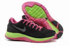 Chaussures Running Nike LunarGlide+ 4 Mesh - Noir Rose Vert - Femme Prix Discount