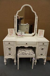 Gorgeous refinished antique furniture #gorgeous #vanity #antique #distressed #shabbychic #beautiful #cottage #cream #stool #mirror