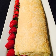 Strawberry roulade filled with creme patisserie