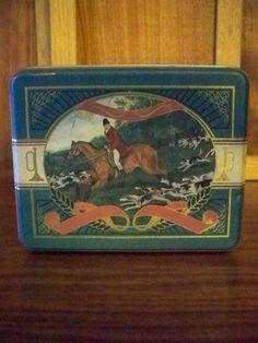 Vintage Fox Hunting Tin Hunt Scenes Equestrian.  via Etsy.