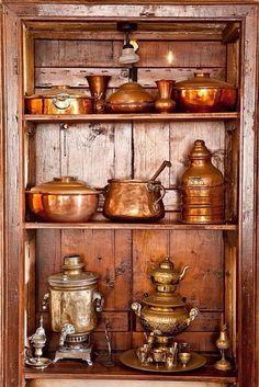 Copper Cookware Gotham Steel Copper Cookware From France Copper Pots, Copper Kitchen, Copper And Brass, Antique Copper, Kitchen Kit, Farmhouse Kitchen Interior, White Kitchen Decor, Copper Utensils, Kitchen Utensils