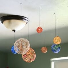 Construct a solar system with balloons, glue and embroidery floss