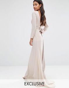Image 1 ofTFNC WEDDING Bow Back Maxi Dress with Long Sleeves