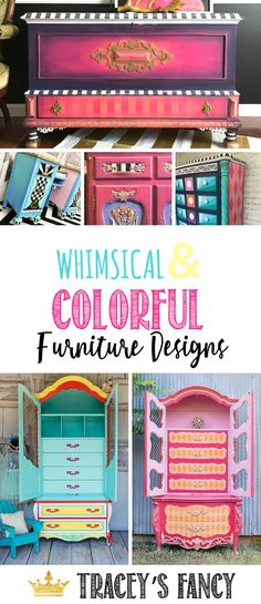 Bright Colorful Bold Whimsical Furniture by Traceys Fancy Painted Furniture Ideas Colorful Furniture Ideas Fun Interesting Funky Painted Furniture Designs Whimsical Painted Furniture, Painted Bedroom Furniture, Funky Furniture, Colorful Furniture, Unique Furniture, Repurposed Furniture, Rustic Furniture, Furniture Makeover, Vintage Furniture