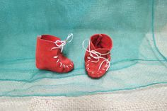 Vintage Doll Moccasin Red Leather Hand Sewn by KansasKardsStudio on Etsy