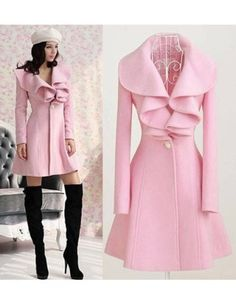 Elegant Cashmere Pink Sweety Style Open Collar Long Sleeve Jackets & Coats - Sweetiee.com