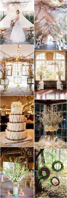 rustic fall wedding decor ideas- tree branches wedding ideas