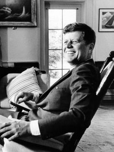 Pres Kennedy Sits in Rocking Chair in Oval Office of White House on 46th Birthday, May 29, 1963 Photographic Print at AllPosters.com