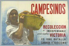 Spanish Civil War poster.  Peasant woman holds up basket of potatoes.