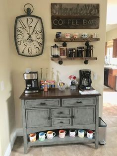 Awesome Coffee Bar Ideas that Will Makes All Coffee Lovers Falling in Love TAGS: Coffee bar ideas, Coffee station kitchen, DIY Coffee bar in kitchen, Farmhouse coffee bar, Keurig station Coffee Station Kitchen, Coffee Bars In Kitchen, Coffee Bar Home, Home Coffee Stations, Coffee Theme Kitchen, Coffee Nook, Coffee Corner, Cozy Coffee, Coffee Tables