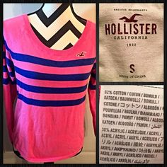 Small Hollister Pink & Blue Sweater Small Hollister Pink & Blue Sweater  Very bright & fun colors Like new, no holes or other signs of wear & tear  Fits a little larger, could fit some mediums   Smoke & Pet Free Home Ships within 24 hours Gift with orders $10+ Bundles & Offers Welcome Hollister Tops Tees - Long Sleeve