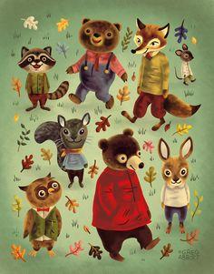 autumn art print by greg abbott --I remember a book about bunnies with similar artwork. Richard Scarry, Greg Abbott, Motifs Animal, Autumn Art, Vintage Children's Books, Children's Book Illustration, Animal Illustrations, Animal Drawings, Retro