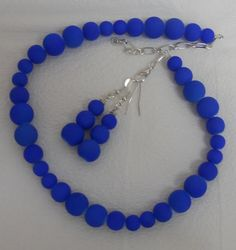 2Pc Set Cobalt / Neon Blue Coated Matte Necklace & by lanesamarie