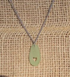 Engraved Heart Necklace, Seafoam Green, Authentic Surf Tumbled Smooth Sea Glass Pendant on a Stainless Steel Chain by KreationsfromKaos on Etsy Handmade Jewelry, Unique Jewelry, Handmade Gifts, Stainless Steel Chain, Sea Foam, Sea Glass, Dog Tag Necklace, Surf, Smooth