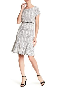 Image of Sharagano Belted Drop Waist Dress