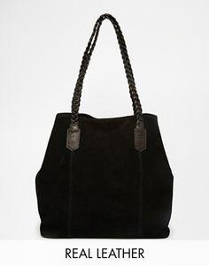 ASOS Suede Shopper Bag With Plaited Strap