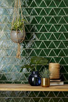 Home Interior Inspiration .Home Interior Inspiration Kitchen Tiles, New Kitchen, Green Tile Backsplash, Green Tiles, Backsplash Ideas, Kitchen Sink, Wall Tiles, Kitchen Decor, Tile Ideas