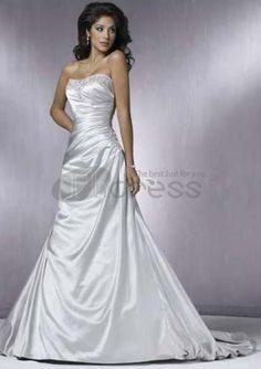 A-Line Sweetheart Chapel Train Satin Bridal Dresses