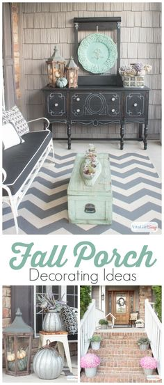 As much as I love the colors of autumn, it's refreshing to see fall front porch decor that embraces a completely different color palette. What a beautiful use of aqua, green, purple with neutrals.