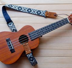 Blue Retro Style Ukulele Strap 3in1 by Qilinlibrary on Etsy