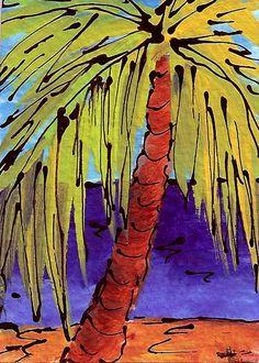 Deep Blue Ocean Palm by Hope Gibson