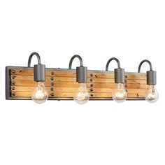 Varaluz Ella Jane Transitional Vanity Light at Lowe's. Ella Jane is the sweet combination of strong steel and worn wood. Warm light-stained, recycled pallet wood slats sit atop this hand-forged recycled steel Ada Bathroom, Bathroom Sconces, Bathroom Vanity Lighting, Light Bathroom, Wood Slats, Wood Pallets, Pallet Wood, Wood Wood, Vanity Light Bar