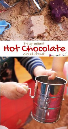 3-ingredient Hot Chocolate Cloud Dough - a winter sensory play experience that your children will love. Add old-fashioned baking tools for an added fine motor challenge. Cloud dough is so fun because it's silky and powdery soft to the touch, but can hold shapes.