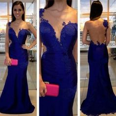 Prom Dress, Mermaid Prom Gown,Royal Blue Evening Gowns,Party Dresses,Mermaid Evening Gowns,Sexy Formal Dress For Teens,Formal Dress 2017 Mermaid Appliques One-Shoulder Royal-Blue Prom Dress