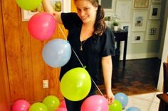 DIY Balloon garland - much easier and cheaper than buying those specialty arches or helium (these colors are right on, too!)