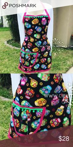 New Day of the Dead Apron Sugar Skulls & Pom Poms New Handmade Dia de los Muertos Apron! Made with premium soft American cotton fabric and lovely Pom Poms! Fits any size, adjustable. Made with love by my mother. More Mexican, Halloween and Sugar Skulls aprons coming very soon! They are already made we are just going to take pictures. Cielito Lindo Tops Blouses