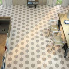 Carrelage hexagonal sol et mur Pattern Blanc Hexagon Tiles, Tile Floor, Flooring, Small Houses, Kitchen Inspiration, Recherche Google, Collections, Bathroom, Architecture