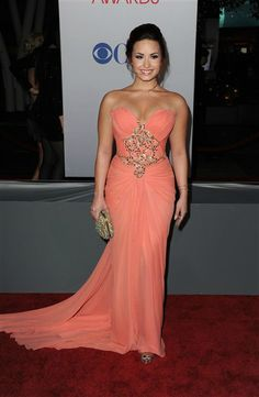 Love Demi's dress. Gorgeous color.  Obsessed with her. Such an inspiration #StayStrong