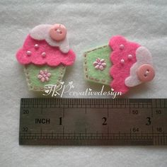 DOUBLE LAYERS Cupcake Felt Applique With by TRPcreativedesign01