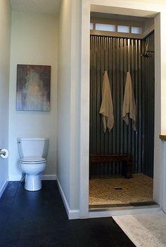 corrugated steel shower- Sean  Mandi's Custom, Modern Modular Home