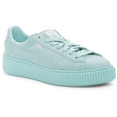 PUMA Reset Platform Sneaker (115 BGN) ❤ liked on Polyvore featuring shoes, sneakers, blue, wide width shoes, wide width sneakers, puma trainers, lace up sneakers and platform trainers