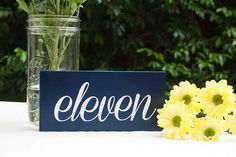 Wood block script table numbers NAVY on Etsy, $12.00 AUD