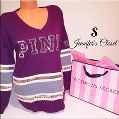 {Victoria Secret PINK} bling varsity crew ❌NO TRADES ❌NO HOLDS ❌NO PP ✮ITEMS ARE 100% AUTHENTIC   ✮PLEASE DO NOT RATE ME BASED UPON FIT/SIZE OF YOUR ITEM. ASK FOR MEASUREMENTS OR PURCHASE AT YOUR OWN RISK✮ PINK Victoria's Secret Tops Tees - Long Sleeve