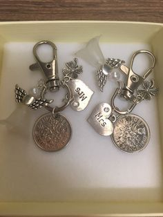 Lucky sixpence Keyring Beautiful keyring set keepsake for the special couple on their wedding day Keyrings have a cleaned and polished genuine sixpence, A Heart charm with your chosen wording set, and a 2nd charm either a horse shoe, clover or 2016 The keyring is a lobster clasp approx