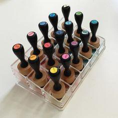 one if the best storage solutions I've seen... nail polish holders for ink blending tools! thanks for the idea @ardythpr1 #distressinkblending #organizationrocks #ardythrocks by sklauck