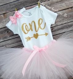 First Birthday Outfit Girl One Birthday Tutu by BabyMaeBoutique