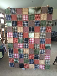 Homespun rag quilt I made for a Christmas gift ~ love!!
