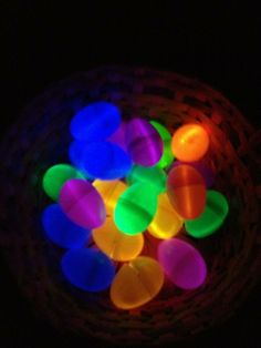 A night time egg hunt!!! Illuminated Easter eggs made from plastic eggs with glow sticks curled up inside!